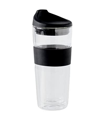 Torre & Tagus To-Go Silicone Grip Glass Double Wall 14-Oz. Cup, Black