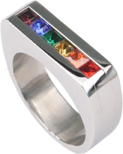 Stainless Steel Squared Channel Set Rainbow Ring