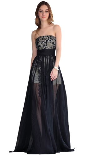 CharliesBridal Black Strapless Floor Length Evening Dress with Sheer Skirt - XS - Black