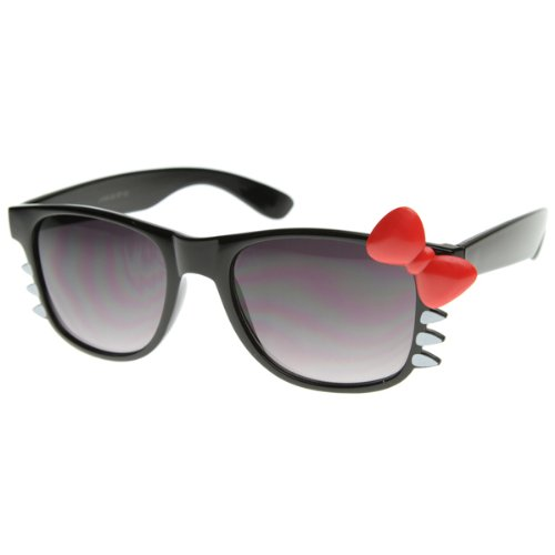 Super cute vintage inspired wayfarer sunglasses that features an adorable hello kitty bow on the left temple and whiskers on the sides of the frame. These sassy glasses are a must have for any Sunglass Collection! Made with metal hinges and smoke polycarbonate UV protected lens.