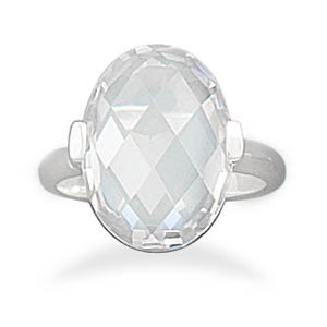 Sterling Silver Faceted Clear CZ Ring / Size 8