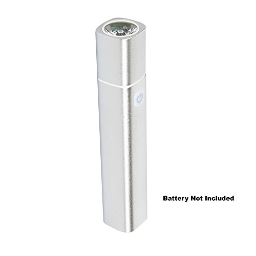 Samway Aluminum Power Bank With 1W Led 80 Lumen Flashlight Torch, Powered By 18650 Battery,Silver (Battery Not Included)