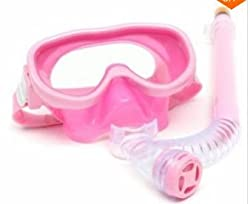 Children Profesionasl Silicone Diving Goggles Set Glasses Mask Swimming Diving Snorkel Breathing Tub (Pink)