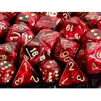 Polyhedral 7-Die Vortex Chessex Dice Set - Burgundy w/gold CHX-27434