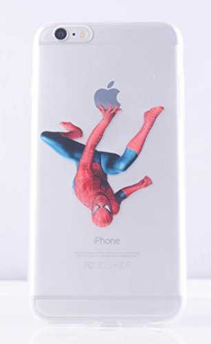 (6 PLUS-Spiderman hanging from apple) ROXX iPhone 6 Plus (5.5) Despicable Me Minions New Cute Apple Ultra Slim Case Cover
