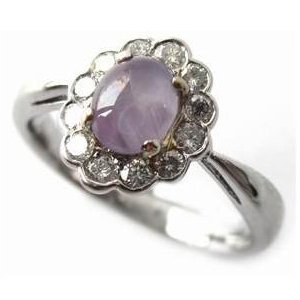 Star Sapphire and Diamond Vintage Style Engagement Ring in Platinum