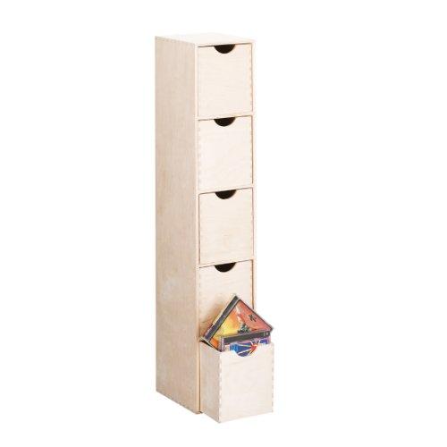 Zeller 13195 Meuble à 5 tiroirs en bois de bouleau, 21 x 16 x 86 cm