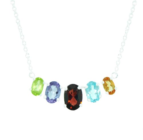 Sterling Silver Multi-Gemstone Frontal Necklace, 18