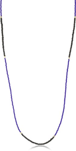 Chibi Jewels Dark Blue Glass Bead and Black Garnet Section Necklace