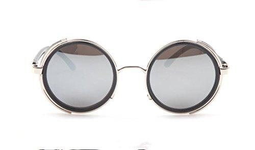 Vintage 50s Steampunk Round Mirror Lens Glasses Sun Glasses Men Women Unisex Retro Style Glasses Circle Frame Blinder Sunglasses Cyber Goggels Eyeglasses Eyewear Grey 2