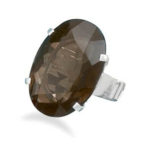Sterling Silver Faceted Smoky Quartz Ring / Size 6