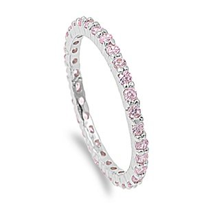 2mm Sterling Silver WHITE GOLD TONE Stackable PINK SAPPHIRE CZ Eternity Engagement Ring 4-10 (6)