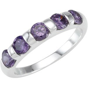 Sterling Silver Stackable Amethyst Colored CZ Ring: Size 8