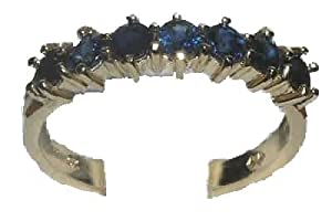 14K Yellow Solid Gold Ladies Sapphire Eternity Band Ring - Size 11 - Finger Sizes 5 to 12 Available by LetsBuyGold Jewelers