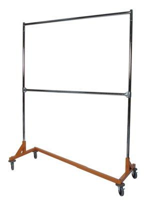 Awardpedia double rail z rack rolling garment rack for Clothes rail on wheels ikea