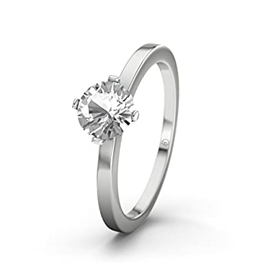 21DIAMONDS Women's Ring California Engagement Ring Brilliant Cut White Topaz 14 carat (585) White Gold Engagement Ring