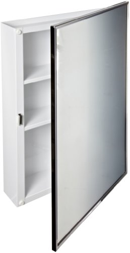 "Bobrick 297 Steel Surface-Mounted Medicine Cabinet, Baked White Enamel Finish, 3-3/4"" Depth, 2 Shelves"