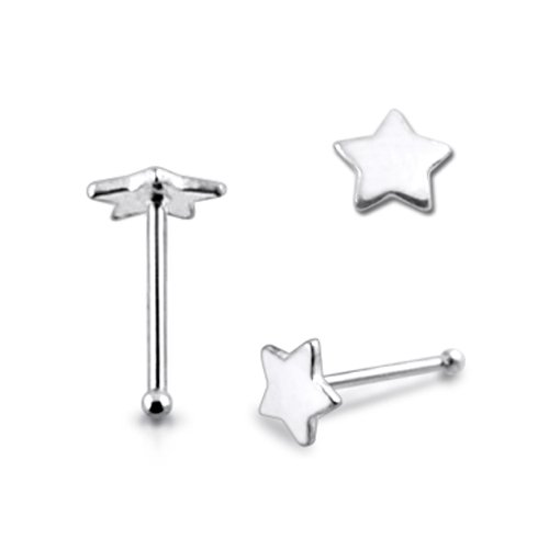 New 20G-6MM Flat Plain Star Ball End Nose Pin Piercing Jewelry Price per piece only