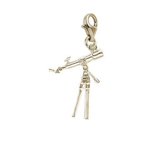 10K Yellow Gold Telescope Charm With Lobster Claw Clasp, Charms For Bracelets And Necklaces