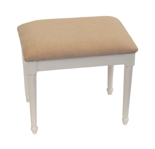 Champagne Chenille Top Dressing Table/Bedroom Stool with White Chatsworth Legs