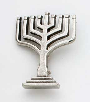 Hand Crafted Pewter Pin - Menorah