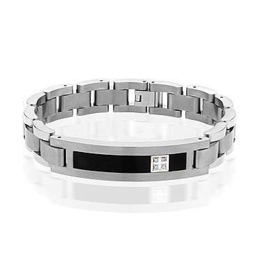 Men's Titanium Onyx and Diamond ID Bracelet