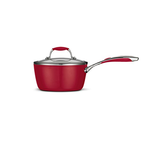 Tramontina 80110/063Ds Gourmet Ceramica 01 Deluxe Covered Sauce Pan, 3-Quart, Metallic Red