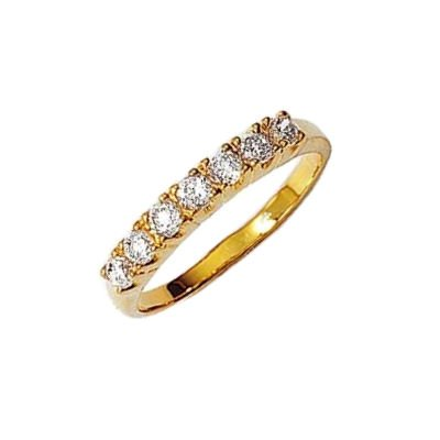 Ladies 18K Gold Plated 3 mm Wide Clear Cubic Zirconia Eternity Style Ring