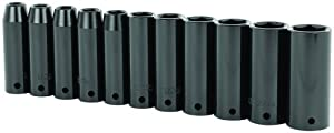 Stanley 97-126 11 Piece 1/2-Inch Drive Metric Deep Impact Socket Set by Stanley Hand Tools