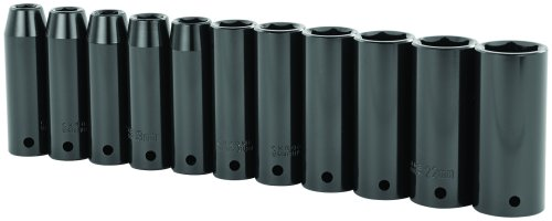 Stanley 97-126 11 Piece 1/2-Inch Drive Metric Deep Impact Socket Set