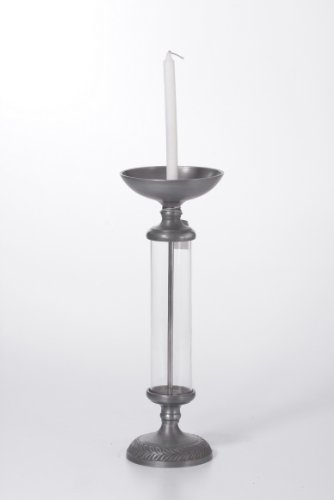 Goyal India Aluninium And Glass Candle Holder With Zinc Finish (Grey, 82317)