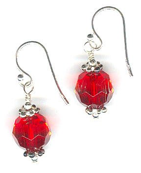 SilverChicks Exclusive - Faceted Red Glass Sterling Silver Earrings