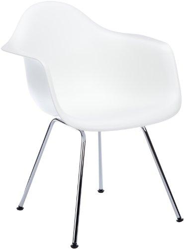 Vitra 4401100001 DAX Eames - Silla de pl�stico, color blanco y cromo