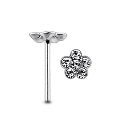 Diamant klar Gem Flower Center klar Gem Sterlingsilber gerade Nase PIN