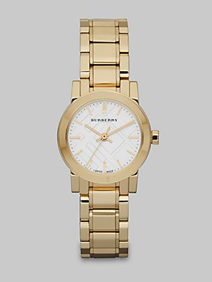 Burberry Watch, Women's Swiss Gold Ion Plated Stainless Steel Bracelet 26mm BU9203