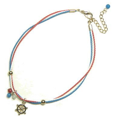 Anklet blue anchor with a refreshing summer color laces and rudder / rudder