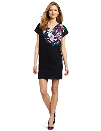 Kenneth Cole New York Women's Peony Print Poly Cdc Shift Dress, Ahe Grey Combo, X-Small