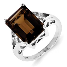 Genuine IceCarats Designer Jewelry Gift Sterling Silver Rhodium Smokey Quartz Ring Size 6.00
