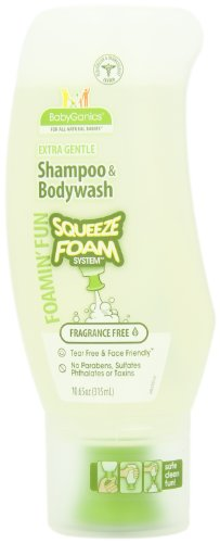 BabyGanics Foamin' Fun Foaming Body Wash & Shampoo, Gentle Formula, Fragrance Free, 10.65-Fluid Ounce Bottles (Pack of 2)