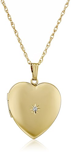"""14k Yellow Gold-Filled Diamond-Accent Heart Locket Necklace, 20"""""""