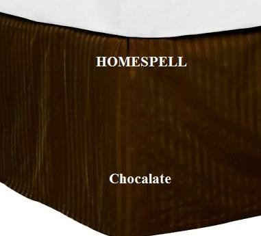 Check Out This Homespell Egyptian Cotton 300 Thread Count Sateen Stripe Bed Skirt Chocalate King.(CL...
