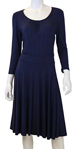 Doria Women's Flattering Jersey Knit Dress Small Navy