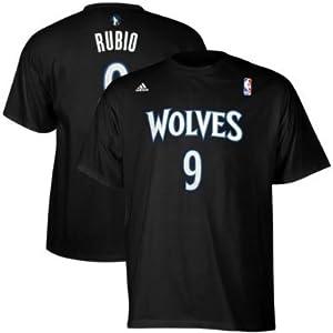 NBA adidas Ricky Rubio Minnesota Timberwolves #9 Net Number Player T-Shirt - Black by adidas