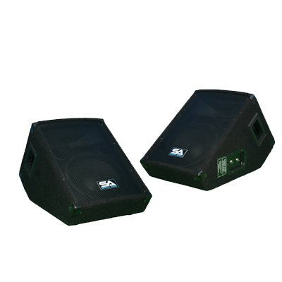 "Seismic Audio - Pair of 10"" Wedge Style FLOOR MONITORS - Studio, Stage, or Floor use - PA/DJ Speakers - Bar, Band, Karaoke, Church, Drummer use from Seismic Audio"