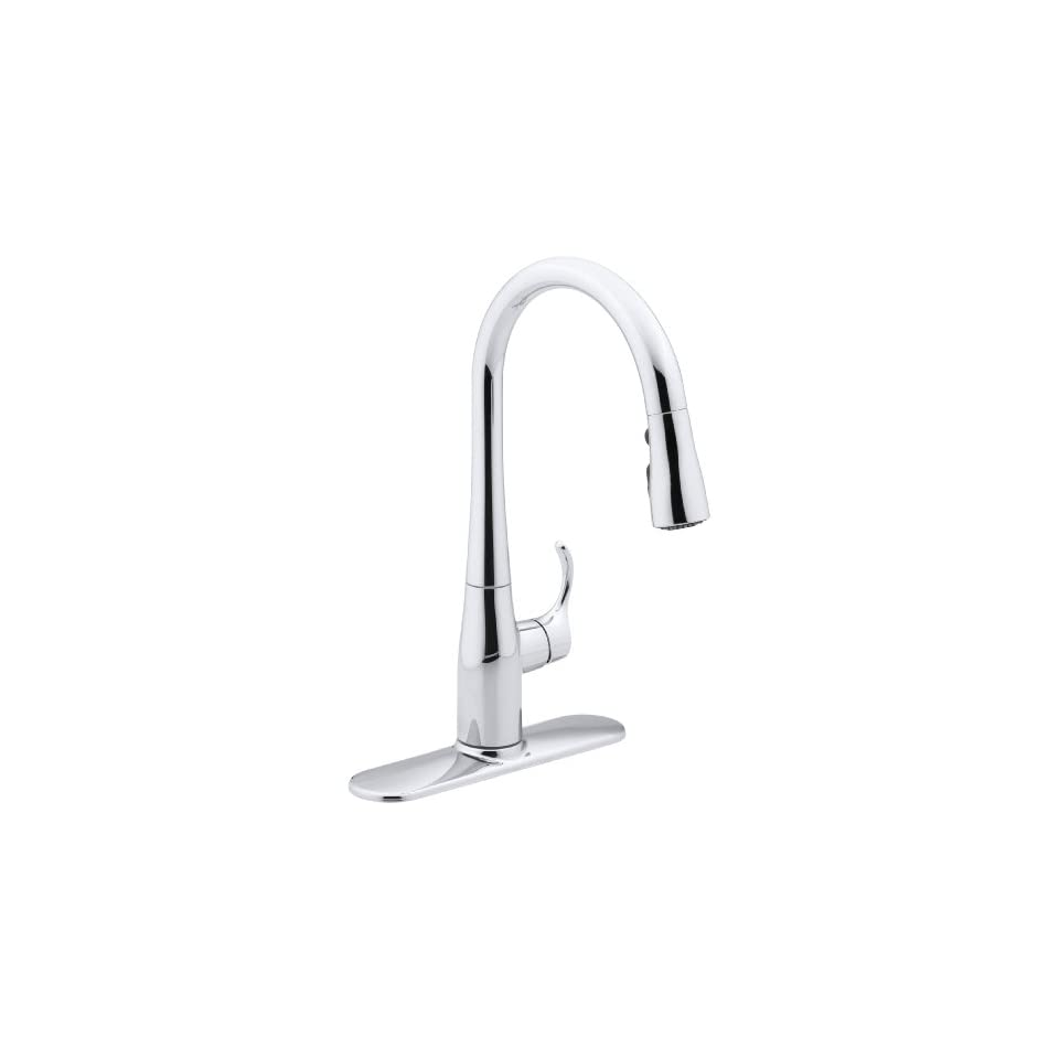 Kohler K597CP Simplice Single Handle Pull Down Sprayer Kitchen Faucet, Polished Chrome