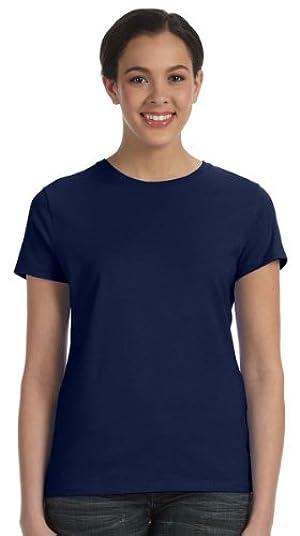 Hanes Ladies 4.5 oz., 100% Ringspun Cotton nano-T T-Shirt, Large, NAVY