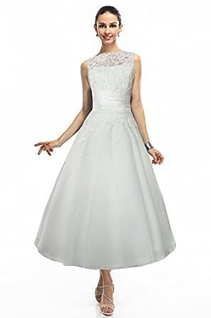 COCOMELODY Women's Ball Gown Long Calf Length V Back Bridal Dress