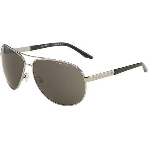 A|X Metal Aviator Sunglasses - Armani Exchange Men's Fashion Eyewear - Ruthenium/Green Shaded / One Size