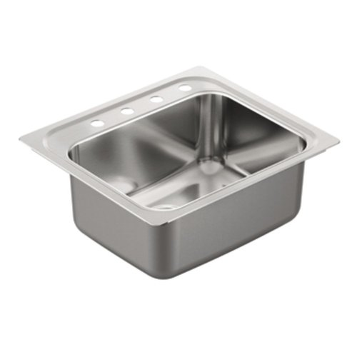 Moen G181954 1800 Series Single Bowl Drop-In Sink, 18-Gauge, Stainless Steel