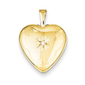 Genuine IceCarats Designer Jewelry Gift 14K Gold Filled With Diamond 2-Frame Heart Locket